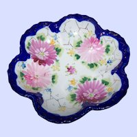 Pretty Vintage Porcelain Bowl Cobalt Blue Trim Hand Painted Floral Theme Gold Decoration