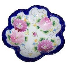 Pretty Vintage Porcelain Bowl Cobalt Blue Trim Hand Painted Floral Theme Gold Decoration