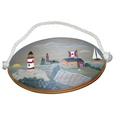 Folk Art  Artisit Signed Canadian Maritime Scene Lighthouse Canadian Flag Sailboat Water