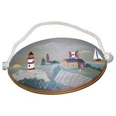 Folk Art  Artisit Signed Canadian Maritime Scene Lighthouse Canadian Flag Sailboat Water