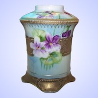 Hand Painted Purple Violet Flower Floral  Themed Heavily Gold Decorate Moriage Nippon Era Vase