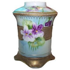 Stunning Hand Painted Purple Violet Flower Themed Heavily Gold Decorate Moriage Nippon Era Vase