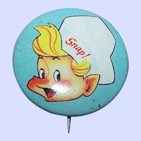 Vintage Tin Litho Advertising Pinback Pin Snap Character from  Rice Krispies Cereal Made in USA