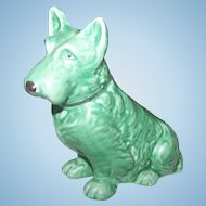 Early Sylvac Terrier Dog Figurine Green  Highland Terrier RD No 1205  England  778504
