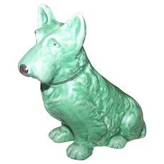Early Sylvac Terrier Dog Figurine Green  Highland Terrier RD No 1205  England  778504