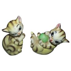 Sweet Little Striped Kitty Cat Salt & Pepper Spice Shakers JAPAN