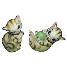 Sweet Little Striped Kitty Cat Salt & Pepper Spice Shakers JAPAN