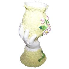 Early Decorative Ceramic Corelene Style Hand Vase Applied Decoration with Flowers Early Registry Stamp