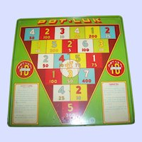 2 Sided  9 1/2 Square Vintage Tin Litho Wyandotte Pot-Luk  / Targetel  Target Game Board