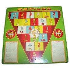 2 Sided  9 1/2 Square Vintage Tin Litho Wyandotte Pot-Luk  / Targetel  Target Game Board