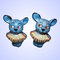 Charming Figural Accordion Musician Blue Mice Mouse Salt & Pepper Spice Shakers