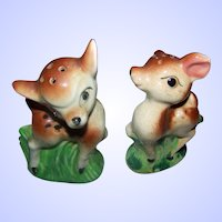 Dear Little Hand Painted Deer Figural Salt & Pepper Spice Shakers MIJ