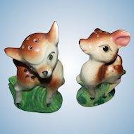 Dear Little Hand Painted Deer Figural Salt & Pepper Spice Shakers MIJ