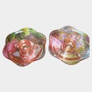 Pretty Pink Depression Glass Candlestick Footed Holders