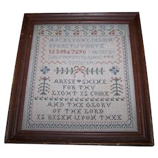 Framed Vintage  Religious  Bible Verse Isaiah 60:1 Arise Shine  Cross Stitch Sampler  Wall Art Home Decor Accent