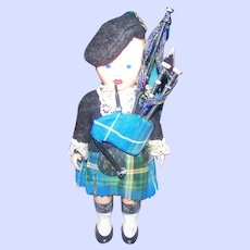 Vintage Nova Scotia Scottish Tartan Sleepy Eyes Hard Plastic  6 Inch Doll  Bagpipes and Scottish Thistle on Beret
