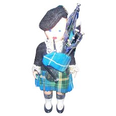 Vintage Nova Scotia Scottish Tartan Sleepy Eyes Hard Plastic  6 Inch Doll  Bagpipes and Scottish Thistle on Beret