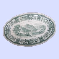 "Villeroy & Boch Burgenland 12"" by 8 ""  Oval Serving Platter In Green W Brown Back Stamp MI Germany"