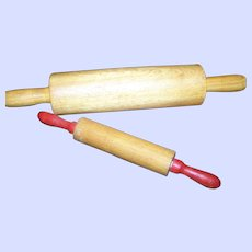 2 Sweet Little Children's Playtime Helping Mom GrandMa  Baker Wood Rolling Pins
