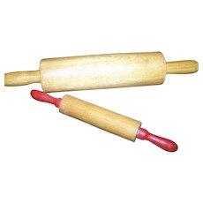 2 Sweet Little Children's Playtime Helping Mom GrandMa  Baker Wood Rolling Pins