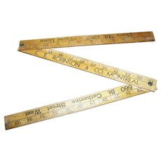 "Vintage Wood Folding Advertising Yard Stick 36"" Robintex Fabrics C.E. Robinson & CO Montreal Inches and Yds"