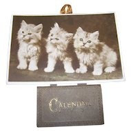 Home Decor Vintage Charming Paper Sepia  Photo Card Kitty Kitten Cat Motto   Calendar for 1931  Meow