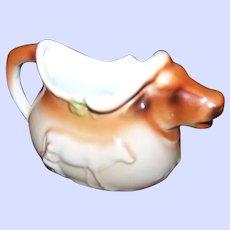 Old Made in  Czechoslovakia Ceramic Jersey Farm Cow  Creamer Pourer