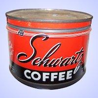 Rare Vintage Tin Litho Advertising Tin Can SCHWARTZ  Empty 1/2 Pound Size  Halifax Canada