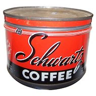 Rare Vintage Tin Litho Advertising Tin Can SCHWARTZ  Empty 1/2 Pound Size  Halifax Canada