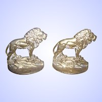 Brass Metalware Lion Bookends By BronMet D891 Copyright 1926 Home Decor Accent
