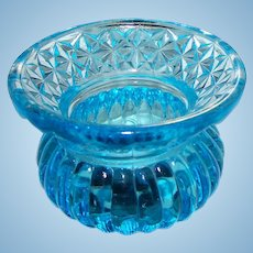 A Lovely  Vintage Small 2 Inch Ice Blue Pressed Glass Ladies Spitoon