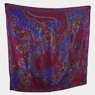 Lovely Quality Designer Signed Christian Fischbacher Decorative Large Silk Scarf Wearable ART
