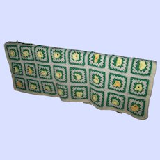"""Flower Power Vintage Hand Crafted Crochet Granny Square  Blanket 66"""" by 45"""""""