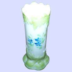 Small Milk Glass Hand Painted Blue Forget Me Not Floral Themed Bud Vase Home Decor  Accent