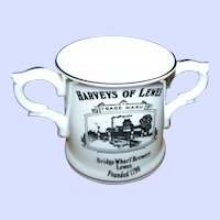 Small 3 inch Loving Cup Advertising Harveys of Lewis Trade Mark Bridge Wharf Brewery Lewes Founded 1790