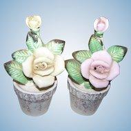 Charming VTG Salt Pepper Shakers Porcelain Floral Figural Commodore Japan