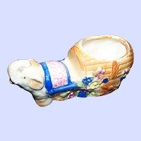 Sweet Vintage Ceramic Lucky Trunk Up Elephant Ellie Cache Pot Occupied Japan