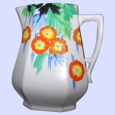 Beautiful Hand Painted Deco Era Ceramic Pitcher Jug 6 Inches Made in Japan Home Decor Accent