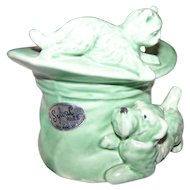 SylvaC Ware Made in England Green Pottery Top Hat with Kitty Cat and Puppy Dog  1484   4