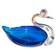 Murano Art Glass Swan Blue Candy Trinket Dish Nut Bowl 5 Inches tall Pontil Bottom
