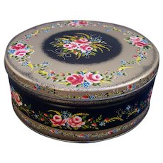 Vintage Floral Bouquet Themed Tin Litho Container  10 Inches Across