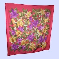 Pretty Floral Flower Themed Pink Scarf Wearable ART