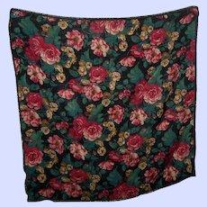 Club 7 Echo 100% Wool All Over Floral Chintz Fringed Scarf