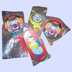 Vintage Tin Litho Clown Themed Metal  NOISEMAKERS Party Favors Life of the Party  LOT of 4