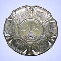 A Vintage Metal Wall Plaque Travel Sovenir Paris France with Attractions
