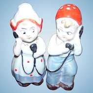 Vintage Googly Eyes  Dutch Girl and Boy on Telephones S&P Shakers Germany 2599