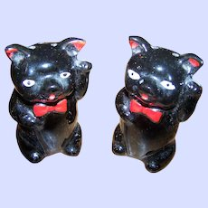 Health & Lucky Waving Black Cat Red Clay Salt & Pepper Shakers Shafford Style JAPAN