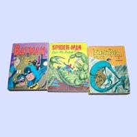 Lot of 3 VTG A Little Big Book Whitman Publishing USA Spiderman Batman The Fantastic Four
