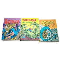 Lot of 3 VTG A Little Big Book Whitman Publishing USA Spiderman Batman The Fantastic Four