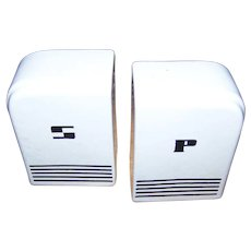 Pair of Vintage  B&W Art  Deco Era White Porcelain Salt & Pepper Spice Shakers  Range Top